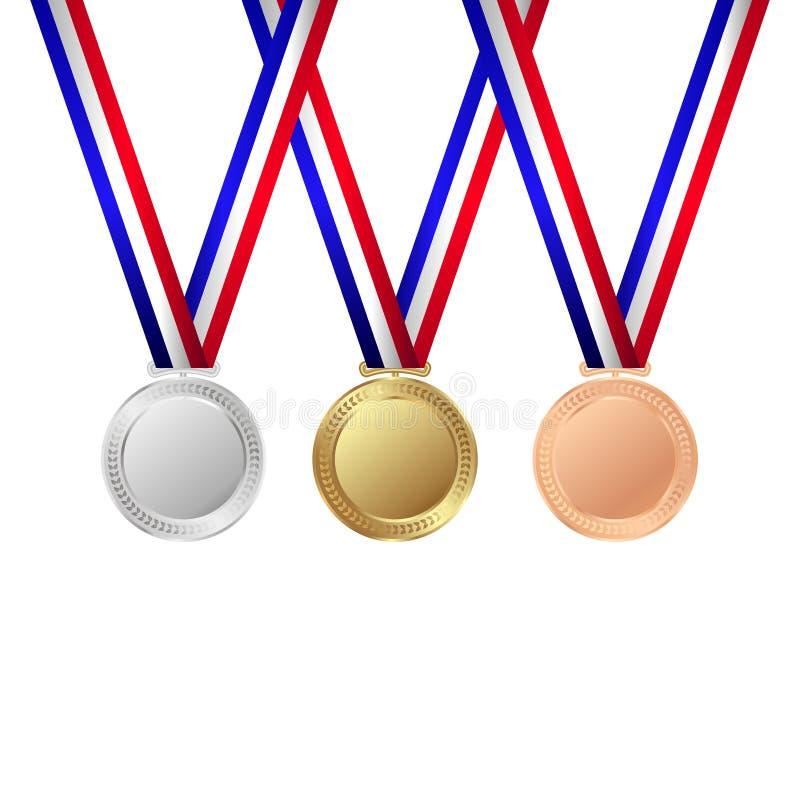 Gold-, silberne und Bronzemedaillen trophäe Auch im corel abgehobenen Betrag vektor abbildung