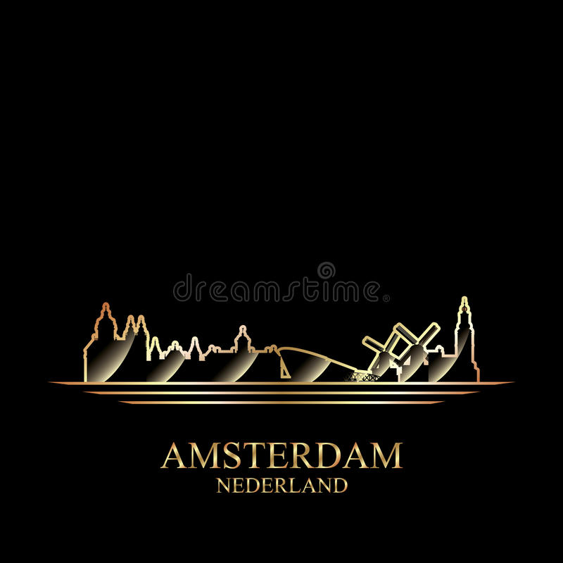 Gold silhouette of Amsterdam on black background. Vector illustration royalty free illustration