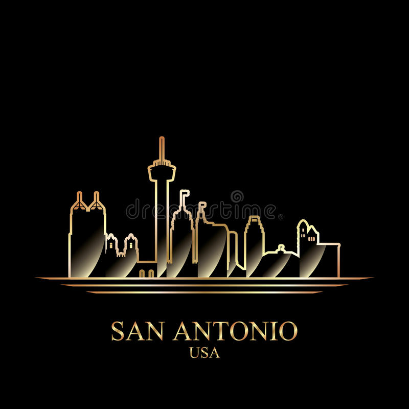 Free Gold Silhouette Of San Antonio On Black Background Royalty Free Stock Images - 84984749