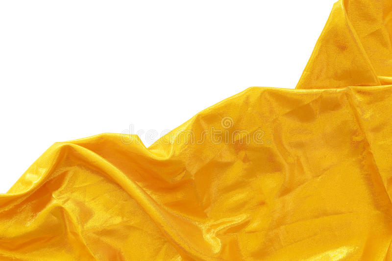 Gold silk fabric. On white background stock photo