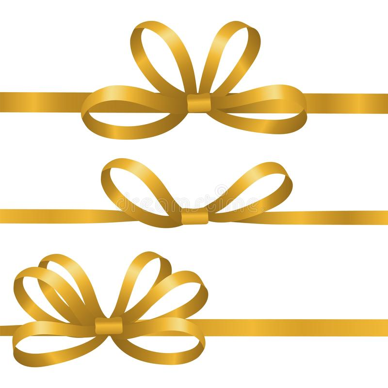 Gold silk ribbons. Satin bows vector elements. Realistic ribbons for gift wrapping isolated on white background. Bow satin or silk to birthday gift vector illustration