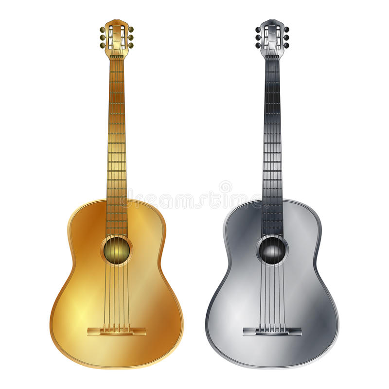 Gold and silver acoustic guitar royalty free illustration