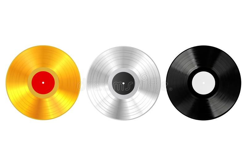Gold, Silver amd Plastic Vinyl Record with Blank Labels. 3d Rendering. Gold, Silver amd Plastic Vinyl Record with Blank Labels on a white background. 3d vector illustration