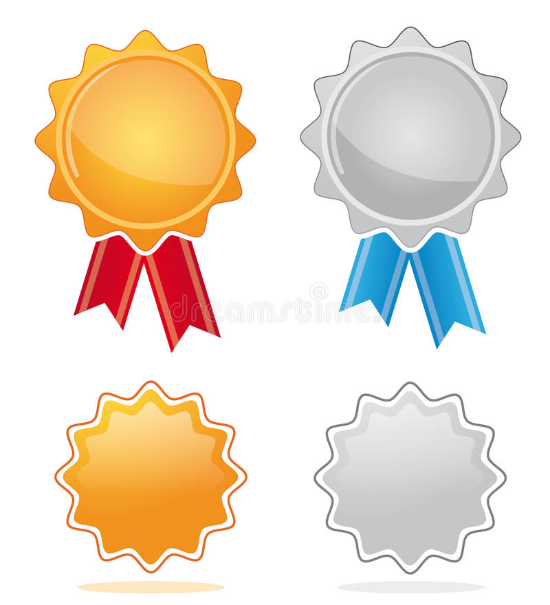 Download Gold & silver award medals stock vector. Image of success - 14551039