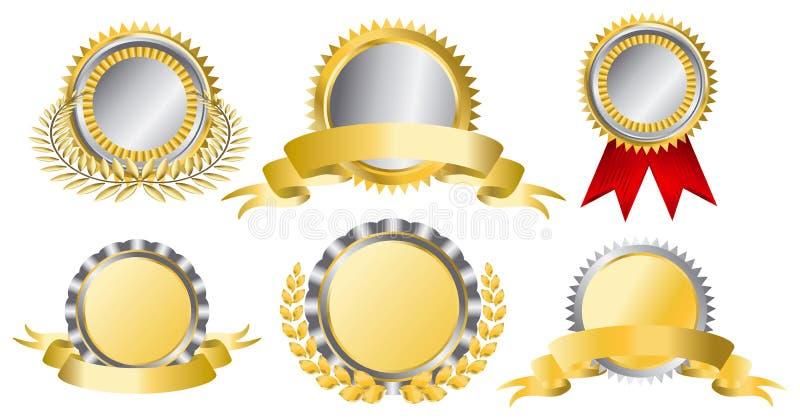 Gold and silver award ribbons vector illustration