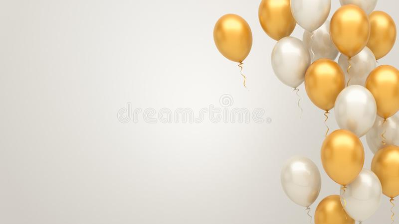 Gold and silver balloons background. 3d illustration stock photography
