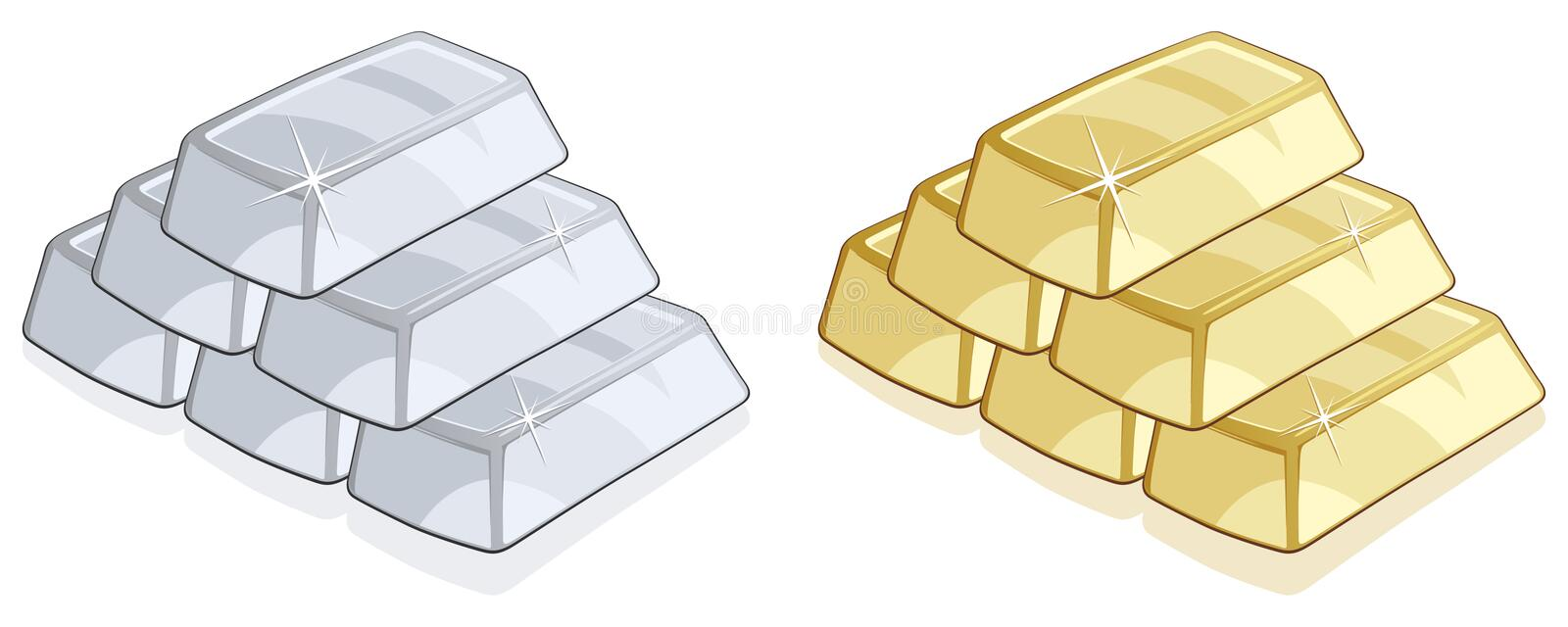 Gold And Silver Bars Royalty Free Stock Images Image
