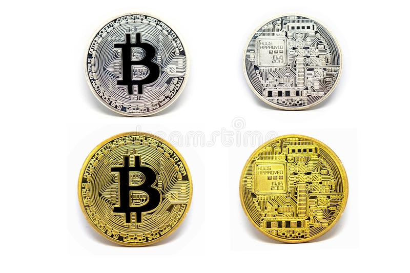 Gold and Silver bitcoin on isolate white background, Cryptocurrency Concept, Virtual money Concept royalty free stock images