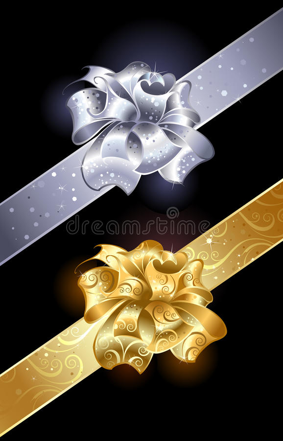 Gold and silver bow. Gold and silver, shiny bow on a dark background royalty free illustration