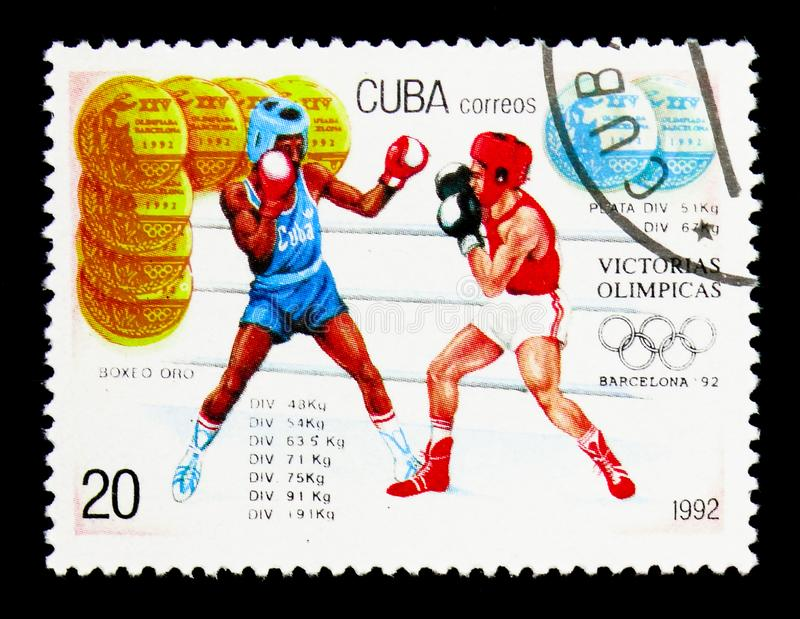Gold and silver, boxing, Summer Olympic Games 1992 - Barcelona s royalty free stock images