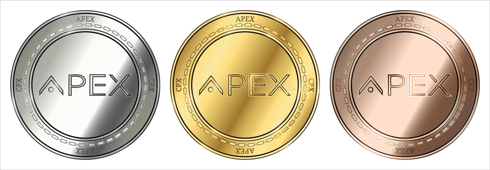 Apex CPX coin set. Gold, silver and bronze Apex CPX cryptocurrency coin. Apex CPX coin set stock illustration