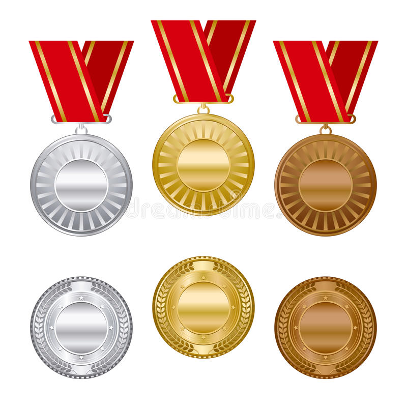 Download Gold Silver And Bronze Award Medals Set Stock Vector - Image: 15090335