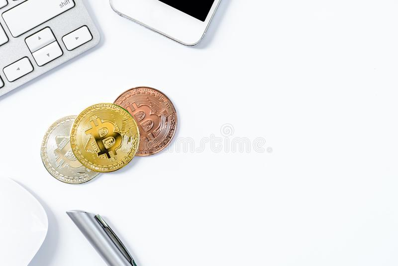 Gold, Silver and Bronze bit coin with top view flat lay and isolated on white background. stock images
