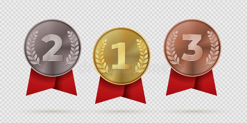 Gold, silver, bronze champion medal with red ribbon. First, second, third placement achievement bages. Realistic vector stock illustration