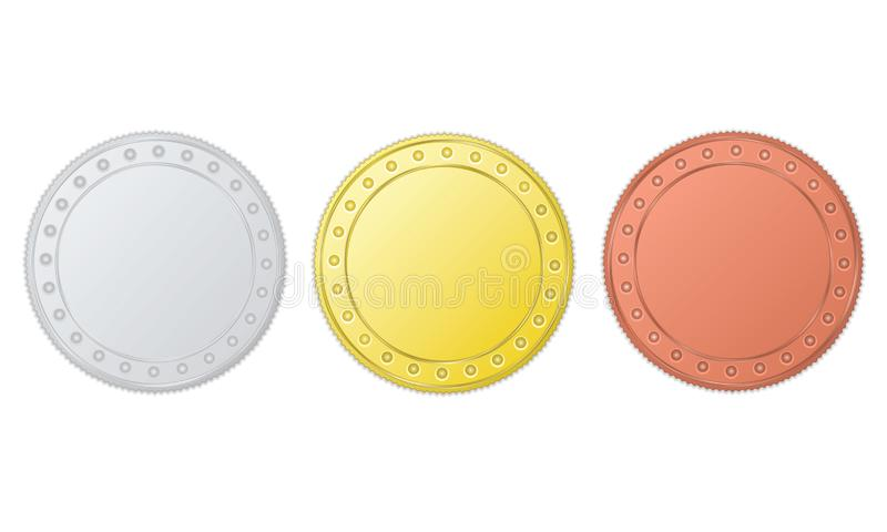 Gold, Silver and Bronze Coins royalty free illustration