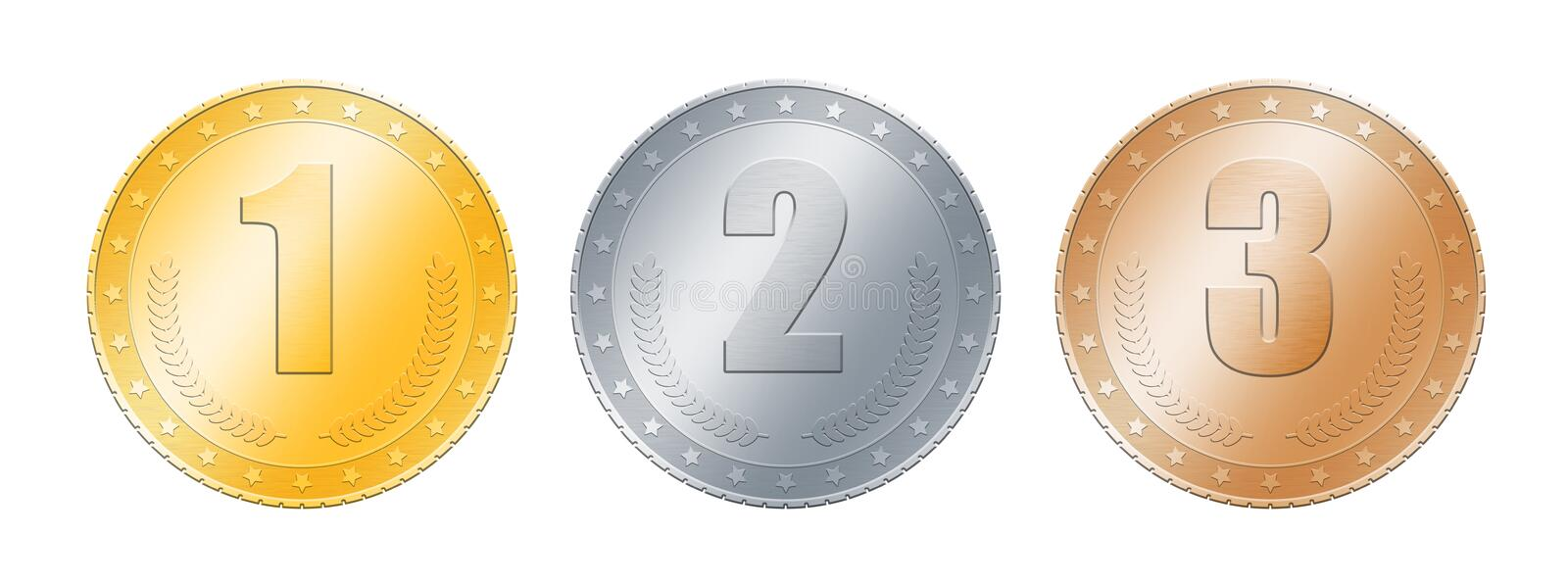 Gold, silver, bronze coins or medals over white. Close up metal gold, silver and bronze blank coins or medals template or award achievement badges with one, two vector illustration