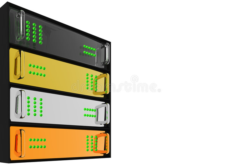 Gold Silver Bronze Diamond Server Rack Hosting stock illustration