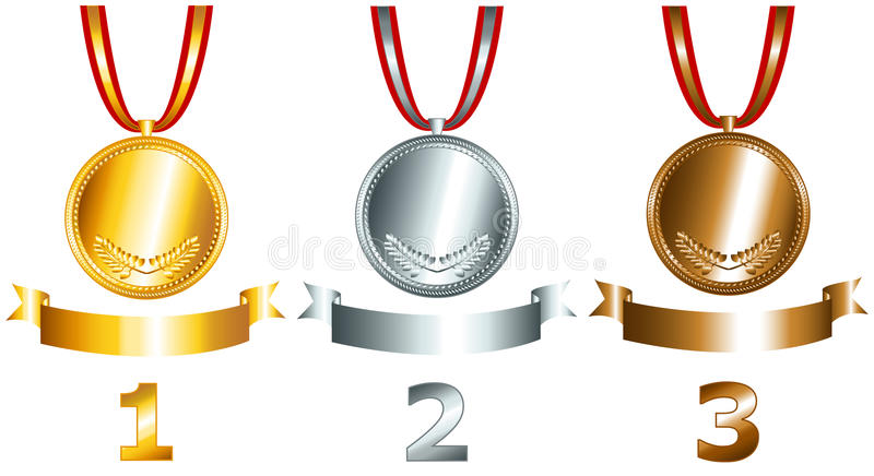 Download Gold, Silver And Bronze Games Related Set Stock Vector - Illustration of shiny, graphic: 24612207