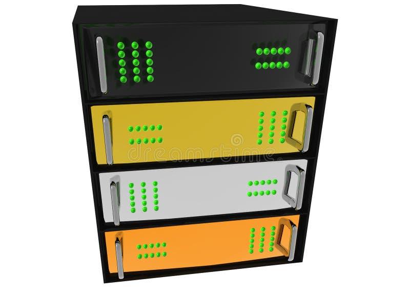 Gold Silver Bronze Glass Diamond Server Rack. Hosting on White royalty free illustration