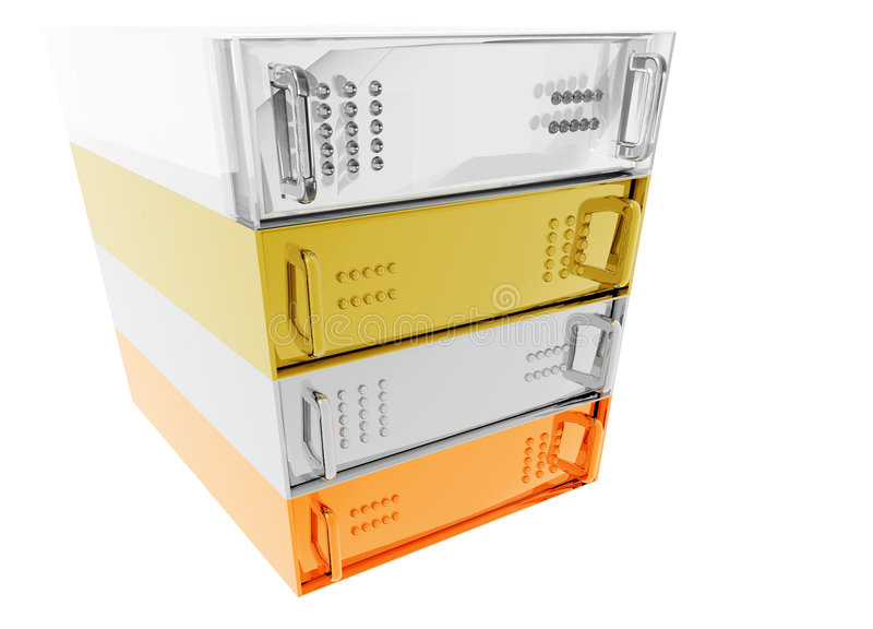 Gold Silver Bronze Glass Servers. Gold Silver Bronze Glass Diamond Server Rack Hosting on White stock illustration