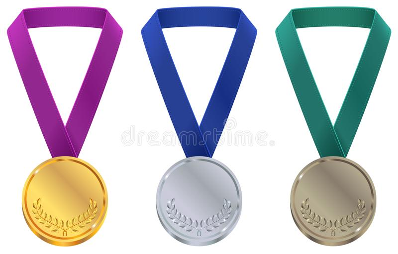 Gold, silver and bronze medal at Winter Olympic Games template. Set sport medal on tape stock illustration