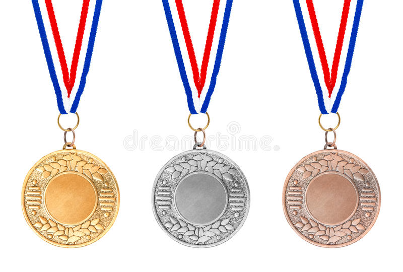 Download Gold silver bronze medals stock image. Image of award - 19342647