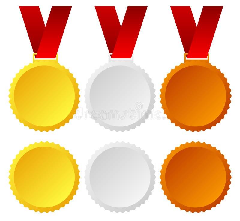 Gold, silver, bronze medals, badges stock illustration