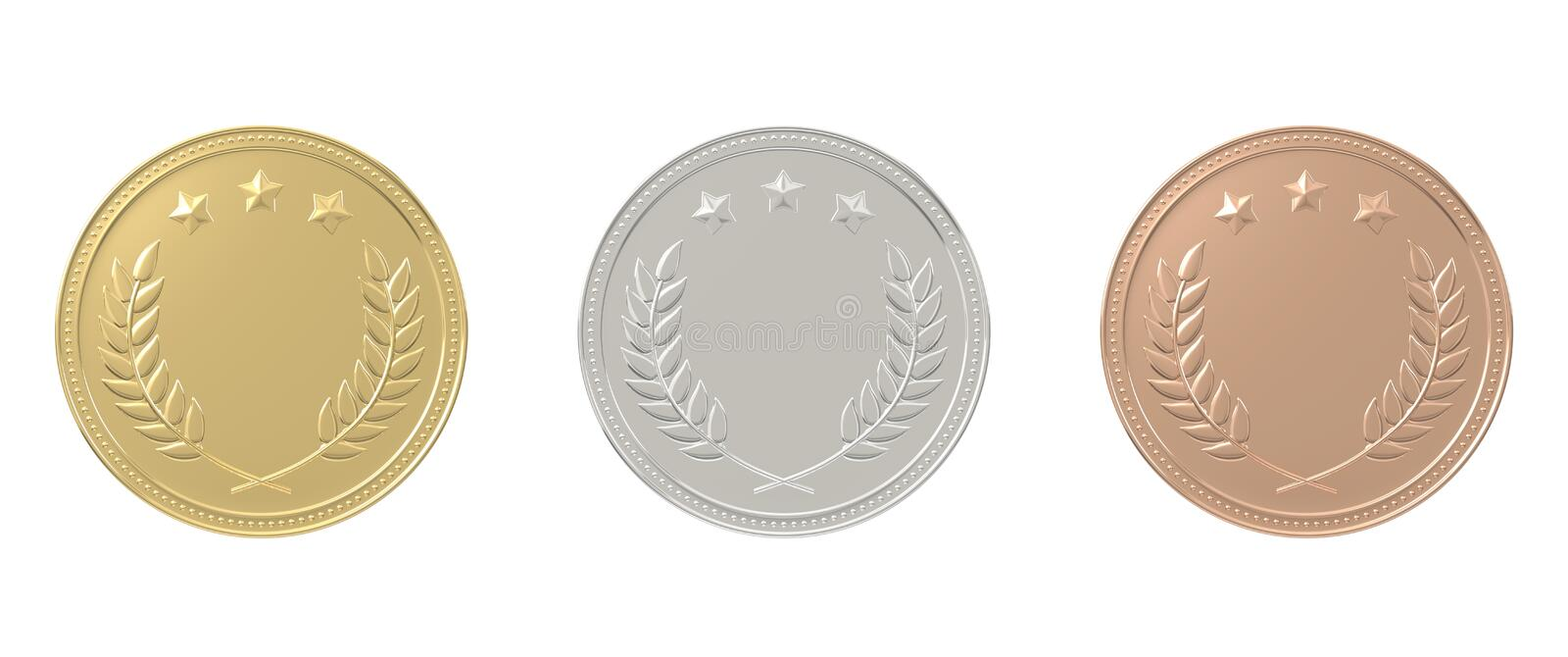 Gold, silver, bronze medals set. 1st, 2nd, 3rd place. Sports award, product ranking, best price, first place concept. Graphic design elements isolated on white stock image