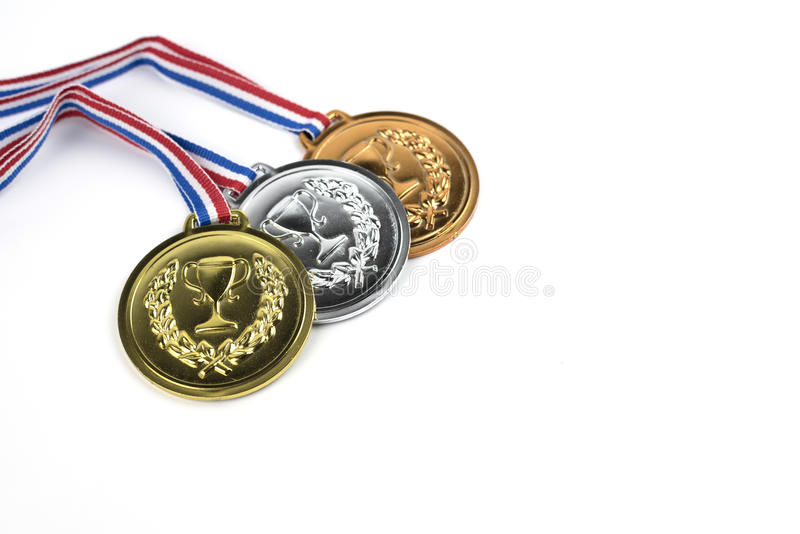 Gold, silver and bronze medals royalty free stock photography