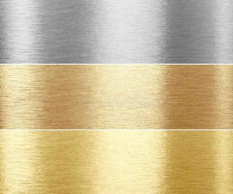 Set of brushed metal textures royalty free stock images