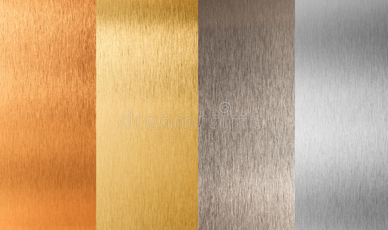 Gold silver bronze nonferrous metal set stock images
