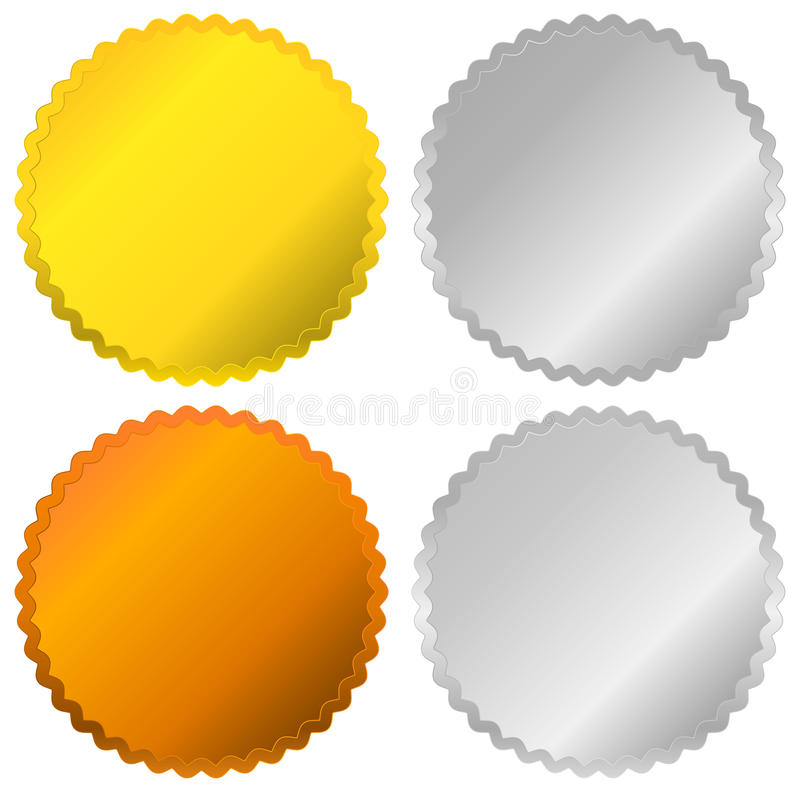 Gold, silver, bronze and platinum badges, seals, buttons stock illustration