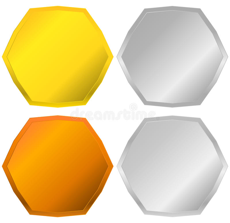 Gold, silver, bronze and platinum badges, seals, buttons royalty free illustration