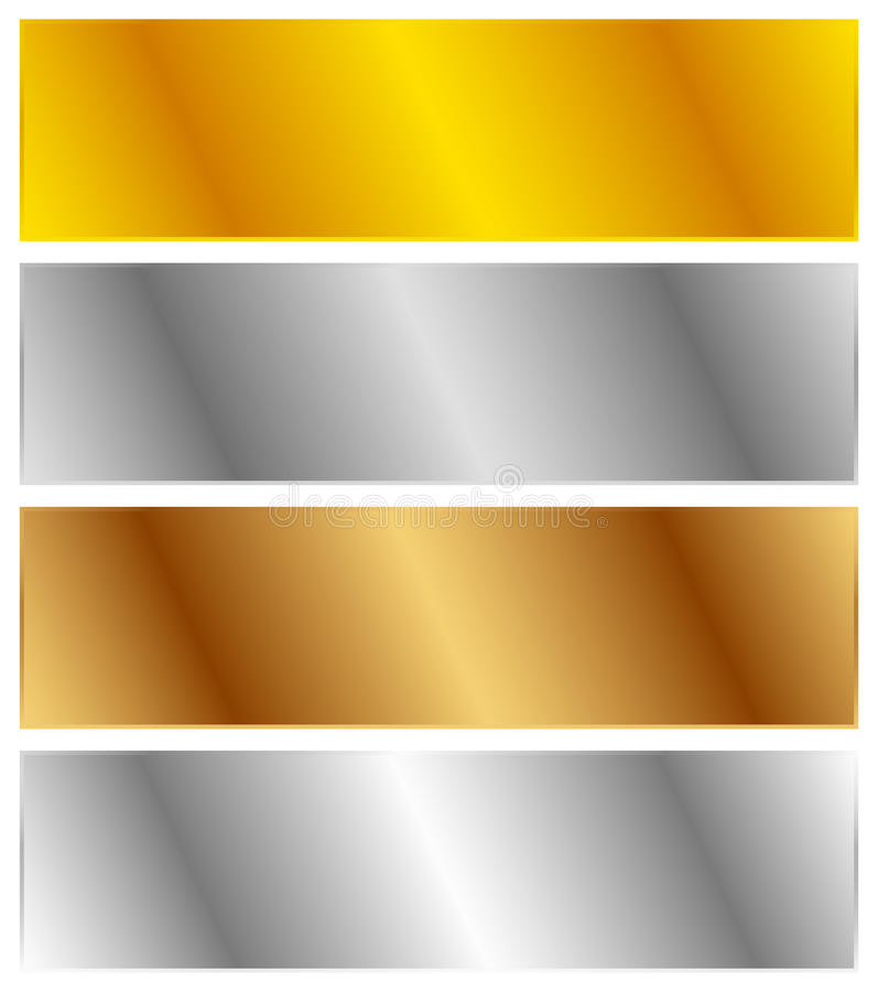 Gold, silver, bronze and platinum banners with shade effect. Blank rectangle metal sheets, plates. Royalty free vector illustration royalty free illustration