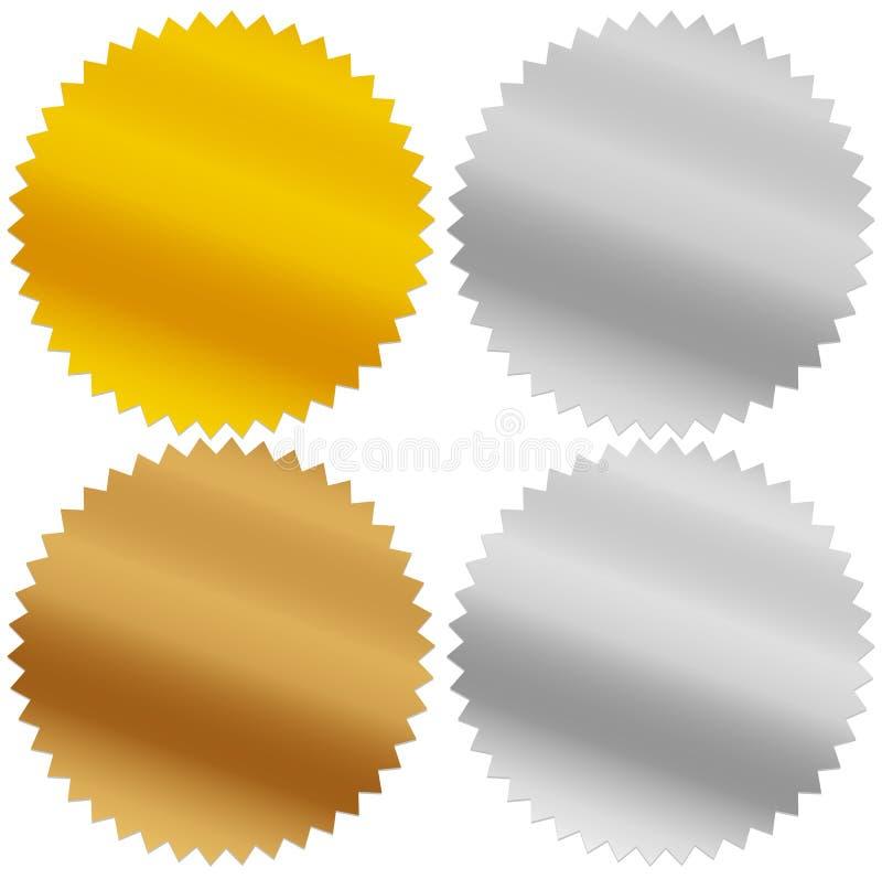 Gold, silver, bronze and platinum seals, awards, starbursts royalty free illustration