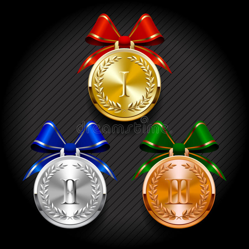 Gold, silver and bronze round medals with laurel wreaths royalty free illustration