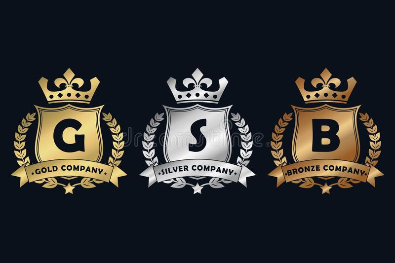 Gold, silver and bronze royal design logo with shield, crown, laurel wreath and ribbon. Luxury logotype template for company. royalty free illustration