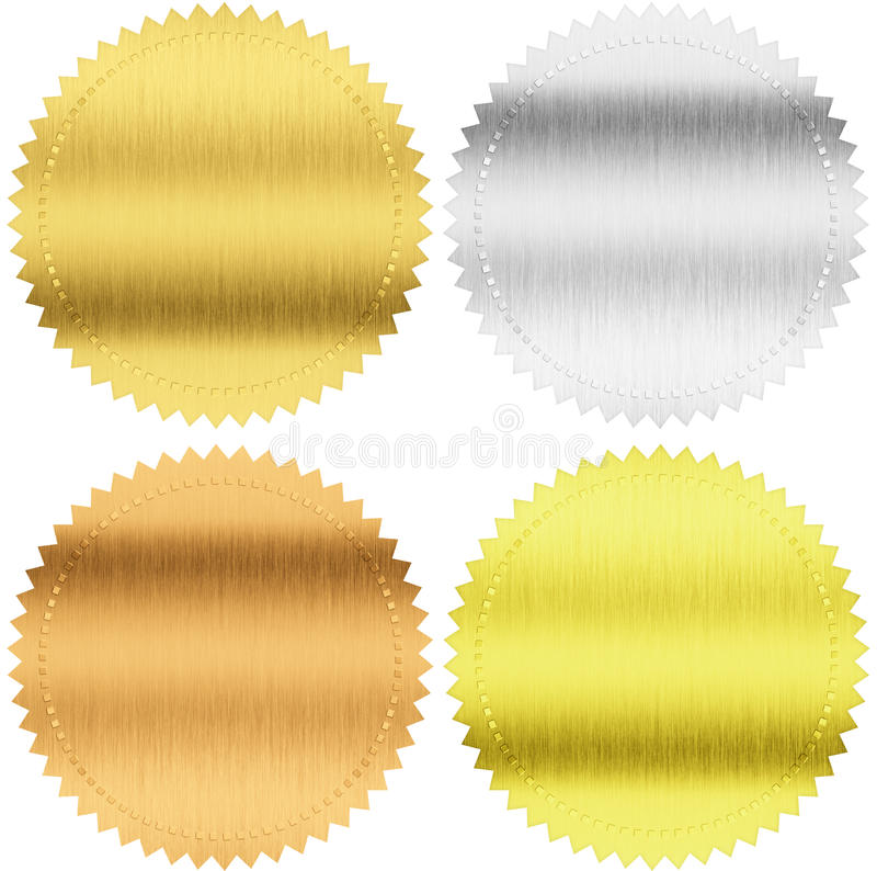 Gold, silver and bronze seals or medals with clipping path stock illustration
