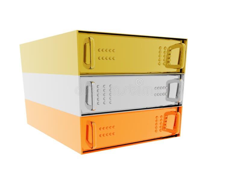 Gold Silver Bronze Server Rack Hosting. Boxes on White stock illustration