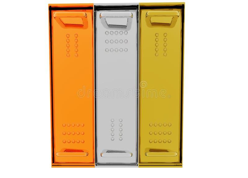 Gold Silver Bronze Server Rack Hosting. Boxes on White vector illustration