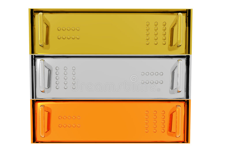 Gold Silver Bronze Server Rack Hosting. Boxes on White royalty free illustration