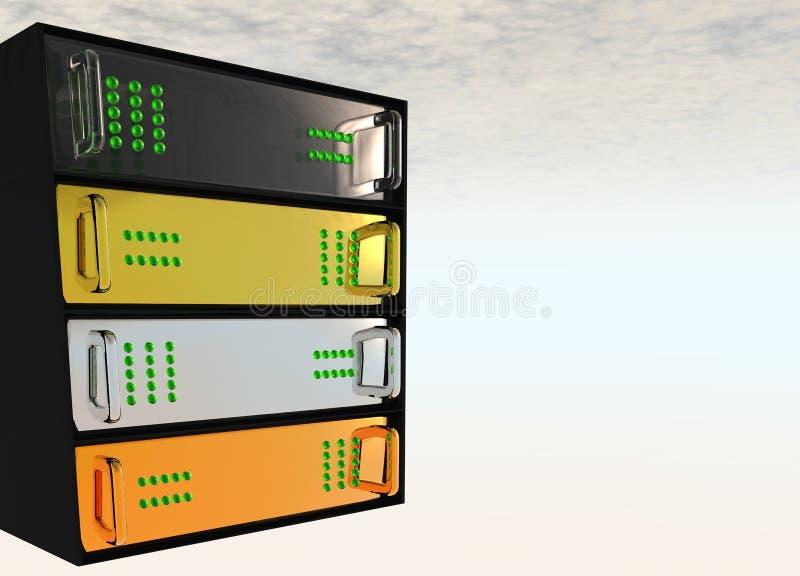 Gold Silver Bronze Server Rack Hosting. Gold Silver Bronze Glass Diamond Server Rack Hosting on White Clouds royalty free illustration