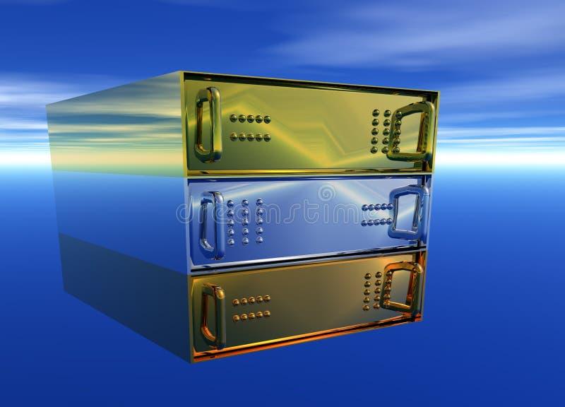 Gold Silver Bronze Server Rack Hosting. On Blue Sky vector illustration
