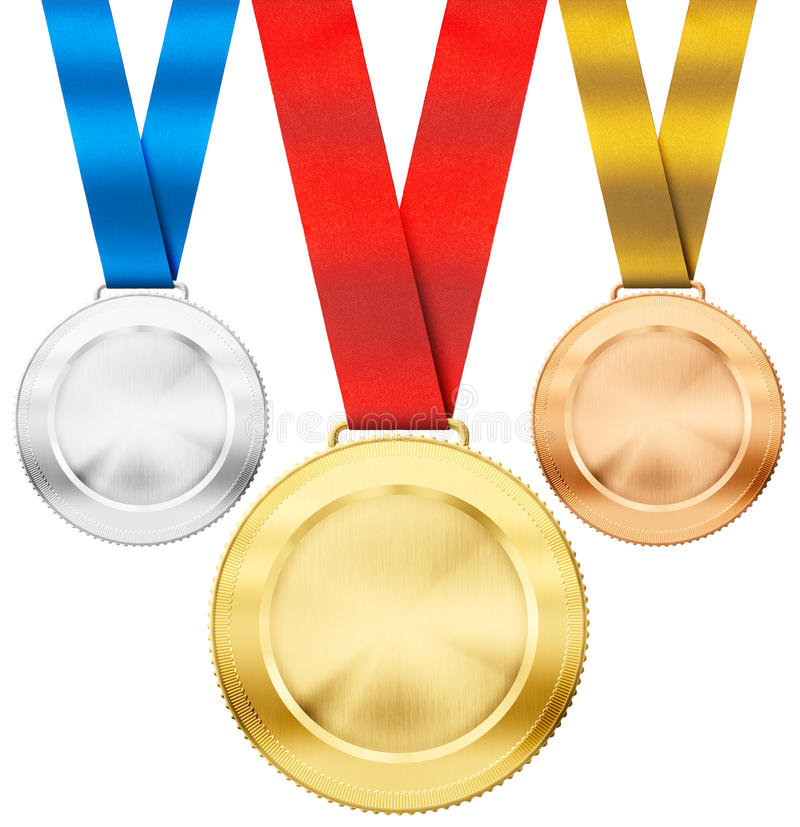 Gold, Silver, Bronze Medals With Ribbon Isolated Stock
