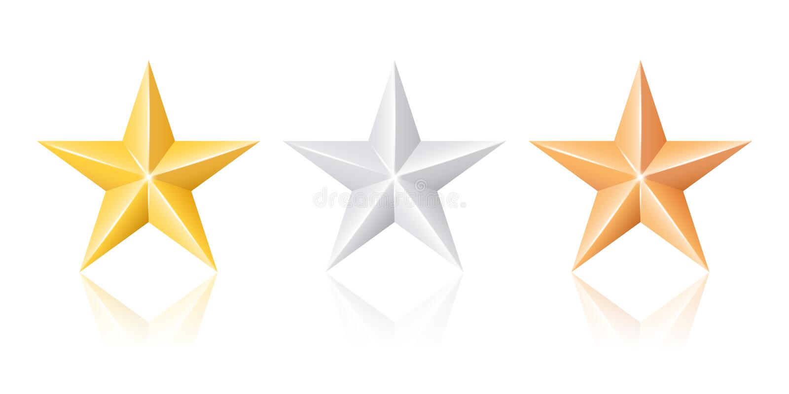 gold silver and bronze stars stock vector illustration of quality rh dreamstime com Silver Star Clip Art Bronze Star with V