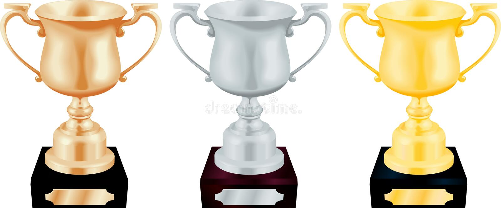 Gold Silver and Bronze Trophy vector illustration