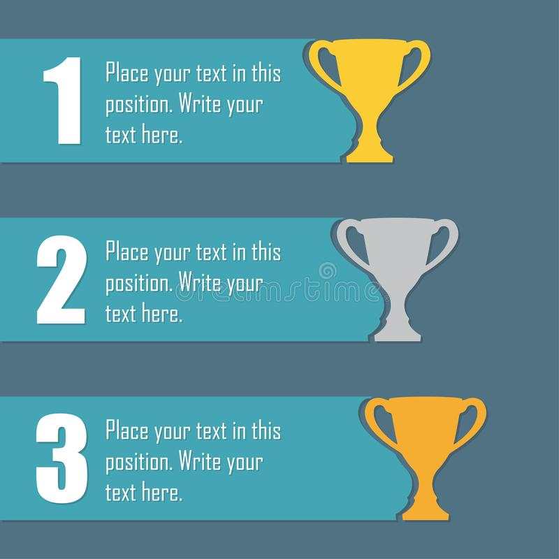 Gold, Silver and Bronze Trophy Cup. First place award. Champions or winners cups icons. Sport Infographic elements with space for royalty free illustration