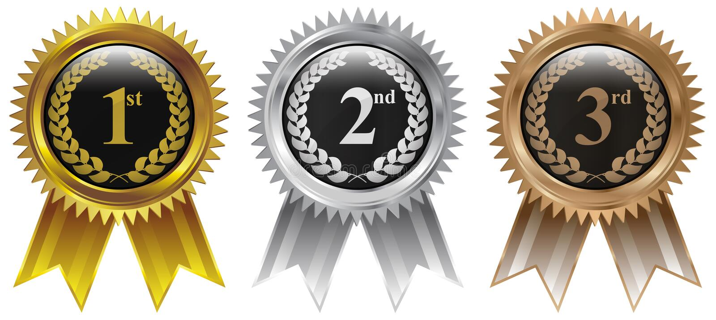 Gold, Silver, Bronze winner badge medal icon royalty free illustration