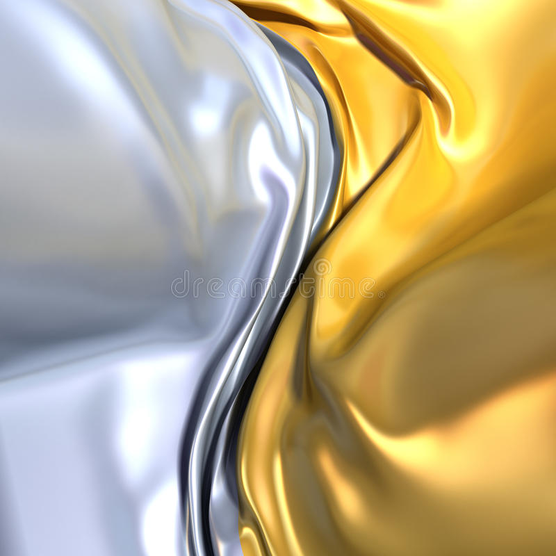 Gold and silver cloth background. Similar to yin yang symbol. Conceptual 3d illustration stock illustration