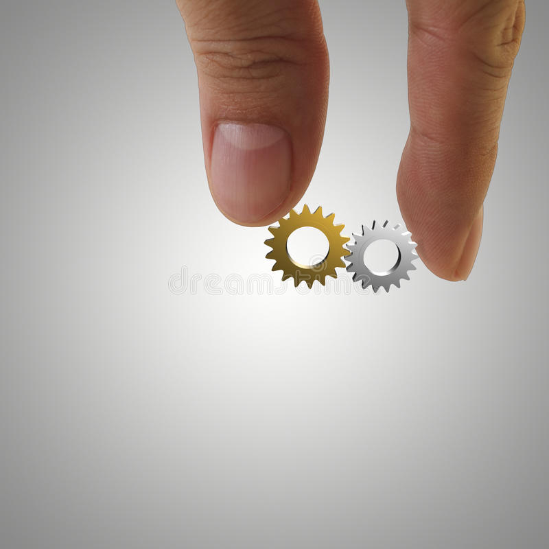 Gold and silver cogs. As concept royalty free stock photos